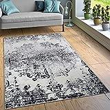 Paco Home Designer Teppich Wohnzimmer Teppiche Ornamente Vintage Optik Schwarz Weiß, Grösse:160x220