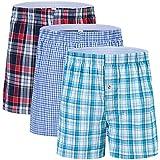 Herren-Boxershorts, Unterwäsche, Nachtwäsche, 100 % Baumwolle, Karomuster, offener Hosenschlitz, gewebt, klassisch, 3er-Pack, 6er-Pack - - Large