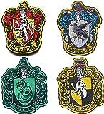 Harry-Potter-Flicken mit Häusern von Gryffindor, Hogwarts-Wappen, Klettverschluss-Rückseite, 10 x 8 cm, für Mäntel, Jacken, Schalthebel, Mützen, Rucksäcke, 4 Stück