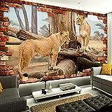 Foto Tapete 3D Stereo Relief Tier Löwe Ziegel Tapete Wohnzimmer Kinderzimmer Landschaft Dekor Wandbild Moderne Wandmalerei,350(W)*256(H)Cm