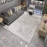 VOVTT Wohnzimmer Teppich Rauten Design - Hochflor Tepiche Für Wohnzimmer, Schlafzimmer, Küche - Shaggy Teppich Grau,140x200