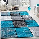 Paco Home Designer Teppich Modern Kurzflor Karos Speziell Meliert Grau Schwarz Türkis, Grösse:120x170