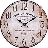 LB H&F Vintage Wanduhr lautlos ohne tickgeräusche Küchenuhr Lilienburg antik Shabby Chic Design Wand Cafe mit lautlosem Uhrwerk - KEIN Tick
