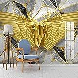 HGFHGD Selbstklebende Wandbild 3D Abstrakt Golden Deer Wings Geometrisches Marmormuster Modernes Wohnzimmer Schlafzimmer TV Hintergrund Tapete Home Decoration