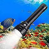Wurkkos Unterwasser-Taschenlampe, 5000 Lumen, 90 hohe CRI, wasserdicht, IPX8, 4 x Samsung LH351D LED-Taschenlampe mit Akku (2 x 26550) und USB-Ladegerät