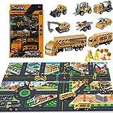 Felly Bagger Sandkasten Spielzeug Kinder 2 3 Jahre, Traktor Spielzeug mit Spielmatte, Kinder Spielzeug ab 4 5 6 Jahre Junge, 8 Mini Baufahrzeuge und Verkehrsschilder, Jungen Spielzeug Geschenk