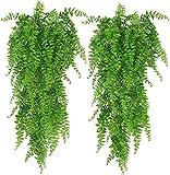Huryfox Kunstpflanze für Zimmer Deko, Aesthetic Künstliche Pflanzen Hängend für Wand Wohnzimmer Schlafzimmer Balkon Garten Party Hochzeit Innen Außen, 2 Stück