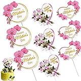 BETESSIN 9 STK Muttertag Cupcake Topper Papier Herz Dekoration Cake Deko Kuchen Torten Tortendekoration Tortendeko Party (3 Stil)