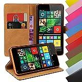 Eximmobile - Book Case Handyhülle für Nokia Lumia 630/635 mit Kartenfächer in Blau | Schutzhülle aus Kunstleder | Handytasche als Flip Case Cover | Handy Tasche | Etui Hülle Kunstledertasche