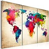 murando - Bilder Weltkarte 120x80 cm Vlies Leinwandbild 3 Teilig Kunstdruck modern Wandbilder XXL Wanddekoration Design Wand Bild - Abstrakt bunt Landkarte Reise k-A-0006-b-f