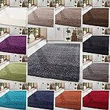 HomebyHome Shaggy Hochflor-Teppich Langflor Wohnzimmerteppich Soft Einfarbig in 14 Farben, Farbe:Grau, Grösse:80x150