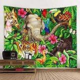 shuimanjinshan Tapisserie Tiger Löwe Elefant Wandbehang Wandteppiche Abdeckung Strandtuch werfen Decke Picknick Yoga Matte Home Decoration 150X200C