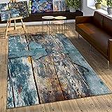 Paco Home Designer Teppich Bunte Holz Optik Hoch Tief Optik In Türkis Gelb Blau Meliert, Grösse:120x170