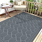 DEXI Fußmatte 120 x 180 cm,rutschfeste Schmutzfangmatte für Innen und Außen,Waschbar Haustürmatte Türmatte Teppiche Eingangsteppich,Hellgrau
