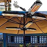zyr Elektrische Sonnenschirmheizung, Freistehende Sonnenschirmheizung Im Freien, Zusammenklappbare Elektrische Infrarot-Raumheizung mit 3 Heizpaneelen für Party Im Freien