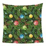 Flanelldecke Kuscheldecke Weihnachtskugeln Tannenzweige Sherpa Decke 3D Gedruckt Warm Flauschige Decke TV-Decke Sofadecke Wohndecke Tagesdecke Kinderdecken 130x150cm