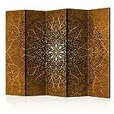 murando Raumteiler Mandala Ornament Oriental Foto Paravent 225x172 cm beidseitig auf Vlies-Leinwand Bedruckt Trennwand Spanische Wand Sichtschutz Raumtrenner braun beige f-A-0491-z-c