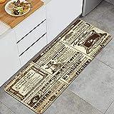 Blived Küchenteppiche,Vintage Zeitungen historischen Monster Wordpress, Anti-Ermüdungs-Fußmatte rutschfeste Mikrofaser-Stehmatte 47,2 x 17,7 Zoll