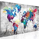 murando - Bilder Weltkarte 200x80 cm Vlies Leinwandbild 5 Teilig Kunstdruck modern Wandbilder XXL Wanddekoration Design Wand Bild - Abstrakt bunt Landkarte Reise k-A-0179-b-p