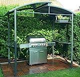 DMS Grillpavillon | Grillzelt | Raucherpavillon | Überdachung | Unterstand mit Abzug aus Aluminium | mit Abstellfläche | feuerhemmendes Kunststoffdach | wasserdicht
