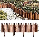 Garden Fence 3 stücke Easy Fixed Spiked Rand Roll-Spiked Log Roll Border Easy Plug-In Zaun Palisaden Korrosionsbeständige Holzkantenzaun für Blumen Betten Rasenpfade Gartenzaun Dekorative Zäune