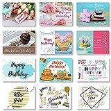 Domelo Geburtstagskarten 24er Set mit Umschlag, Happy Birthday Postkarten, Kraftpapier Karten zum Geburtstag, Geburtstagskarte für Mann/ Frau/ Kinder, Postkarte als Grußkarten (Set 3)