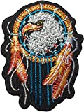 Papapatch Adler Traumfänger Falkenfeder Biker Reiter Motorrad Jacke Weste Kostüm bestickt Nähen Aufbügler (Iron Eagle DREAM-CATCHER)