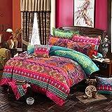 Lanqinglv Bohemian Bettwäsche 135x200 cm 2 Teilig Boho Indischen Mandala Böhmisch Bettwäsche Set Renforce mit Reißverschluss Vintage Bettbezug und 1 Kissenbezug 80x80cm (MJH,135x200)