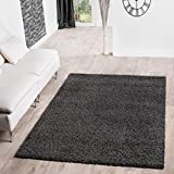 T&T Design Shaggy Teppich Hochflor Langflor Teppiche Wohnzimmer Preishammer versch. Farben, Farbe:anthrazit, Größe:120x170