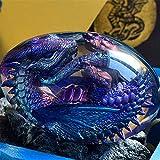 Lava-Drachen-Ei, Traum-Kristall, transparentes Drachenei, handgefertigte Skulptur, Feuertaschen-Drache, Harz-Statue mit leuchtendem Boden, geeignet für Desktop-Ornamente, Geschenke, Souvenirs (blau)