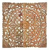 MC Trend Wandbild 3D mit Blumen Dekor Wand-Hänger Shabby Stil Ornament Vintage Wand Deko-Bild aus Mango Holz (Wandbild Braun)