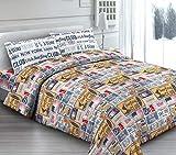 Homelife Tagesdecke für Einzelbett, für Frühling und Sommer, aus Piqué, 180 x 270 cm, hergestellt in Italien, Jacquard-Baumwolle, gestreift, Einzelbett, leichte Steppdecke Singolo [180x270]