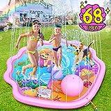 LETOMY Splash Pad, 172CM Sprinkler-Spielmatte für Kinder, Mermaid Theme Sprinkler Play Matte, Sommer-Outdoor-Garten Wasserspielzeug Spielmatte, Familienaktivitäten Party Beach Spritzspielmatte