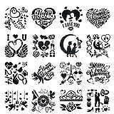 Kaixin Valentinstag Schablonen, 16 STK Wiederverwendbare Schablonen Hohle Malvorlage zum Valentinstag DIY Handwerk Vorlage Zeichnen von Schablonen zum Malen von DIY Walls Art Scrapbook