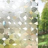 LMKJ Geometrische Glasfolie, statische Frischhaltefolie, Sichtschutzisolierung, mattierte UV-Folie, Heimglas-Dekorfolie A69 60x100cm