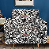 BZCBX Sofabezüge wasserdichte Sofa Cover mit elastischen Riemen Anti-Rutsch-Schaum für das Wohnzimmer Schutz für Verschütten,Hunde Vor Haustieren,Abnutzung und Riss schützen (Zebramuster) 1 Sitzer
