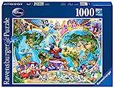 Ravensburger Puzzle 15785 - Disney's Weltkarte - 1000 Teile Puzzle für Erwachsene und Kinder, Puzzle-Weltkarte mit zahlreichen Disney Figuren