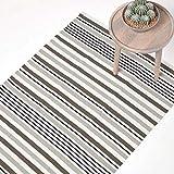Homescapes grau gestreifter Teppich 150 x 240 cm aus 100% Baumwolle, klassischer Streifenteppich