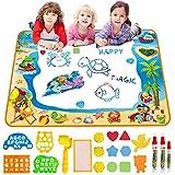 Wasser-Doodle Matte Aqua Zeichnung Malmatte groß 100 x 70 cm Chaos Free Lernspielzeug für 2 3 4 5 6 Jahre alte Jungen Mädchen Kleinkinder Geburtstagsgeschenk mit 3 magischen Stiften, Stempel-Set