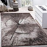Paco Home Edler Designer Teppich Wohnzimmer Holzstamm Baum Optik Natur Grau Braun Beige, Grösse:200x290 cm