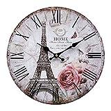 LB H&F Lilienburg Wanduhr Vintage Küchenuhr weiß schwarz Paris - mit lautlosem Uhrwerk Uhr - ohne Ticken F