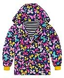 UNIFACO Regenjacke für Mädchen und Jungen, wasserdicht, Baumwolle, gefüttert, Blumenmuster, bedruckt, 2–9 Jahre - Blau - 6-7 Jahre