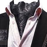 YCHENG Herren Krawattenschal Elegant Jacquard Paisley Floralem Muster Cravat Accessoires LJA-05 Schwarz One Size