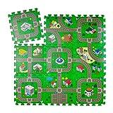 Relaxdays Puzzlematte Straße, 9-teiliger Autoteppich, schadstofffrei, EVA Schaumstoff, Kinderzimmer, BxT: 90x90 cm, b