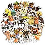 Niedlicher Hund, wasserdichte Aufkleber für Wasserflaschen, Vinyl-Aufkleber für Laptop, Skateboard, Auto, Kinder, Teenager, Erwachsene, 50 Stück