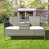 Polyrattan Balkonmöbel Set, Gartenbank Gartensofa Garten Möbel mit Tisch 2 Sitzer Sofa und 5 cm Auflagen Terrasse Wetterfeste Balkonmöbel für O