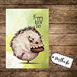 ilka parey wandtattoo-welt A6 Geburtstagskarte Postkarte Print Igel mit Kuchen & Spruch Happy Birthday pk166