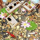 Simple Floor Murals Wallpaper 3D Benutzerdefinierte 3D-Bodenmalerei Pvc Selbstklebende Wandsteine Lotus Flower Fish Badezimmer Wohnzimmer Bodenaufkleber Vinyl Wallpaper-3D-250 * 175Cm Für Küche B