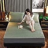 Sommermatte, dreiteilige Bettdecke aus Latex-Eisseide, waschbar, klappbar, kühle, weiche Matte, Einzel-Doppelmatratze,Olive Green,200x220cm
