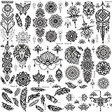 COTTONIX 9 Blätter Groß Klebetattoos Erwachsene Tattoo Temporär Tattoos zum Aufkleben Frauen Mandala Feder Blume Schmetterling Löwe Wolf Sexy Hochzeit Underboob Tattoos